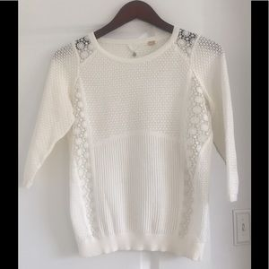 Anthropologie Knitted & Knotted Lace Sweater